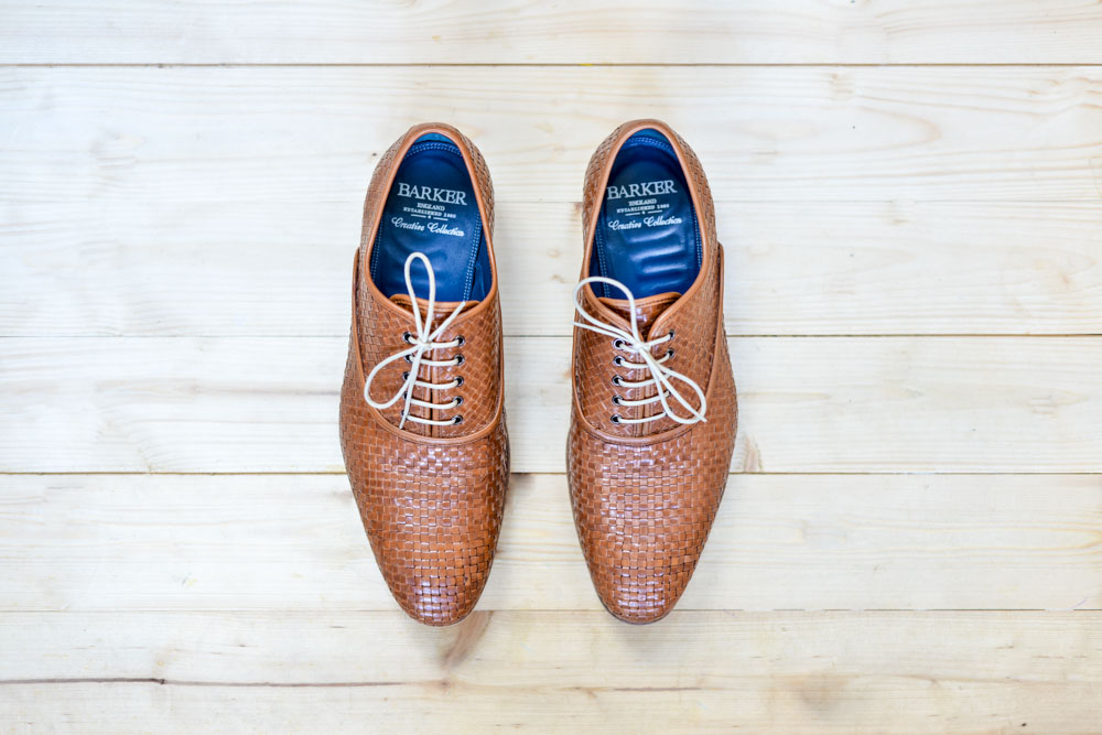 Smart Weaved Brown Leather Shoes From Above