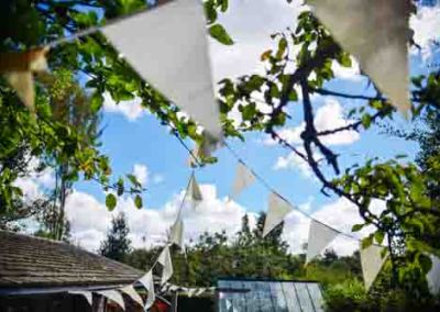 Decorations In Trees Ready For Summer Garden Party