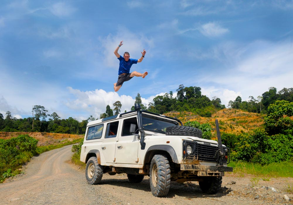Man Jumping On Top Of 4×4 Car In Celebration