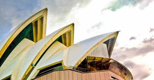 Sydney Opera House From Below With Colors
