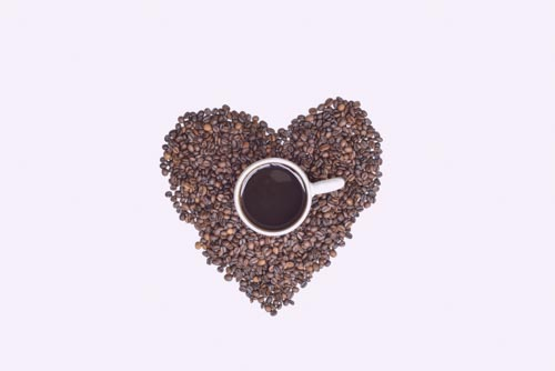 I Love Coffee  With Beans And Mug On Desk