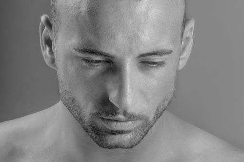 Male Model Fashion Portrait in B&W
