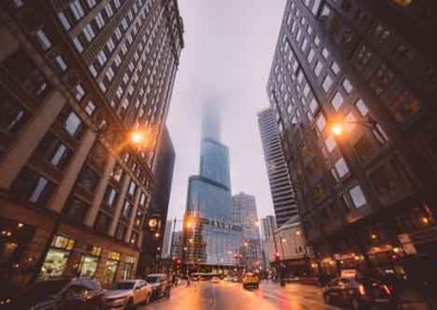 Chicago City Street At Dusk With Mist And Trump Tower