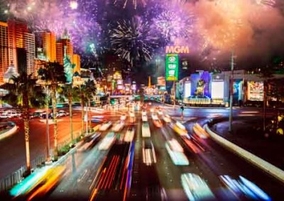 New Years Celebrations With Fireworks In Las Vegas