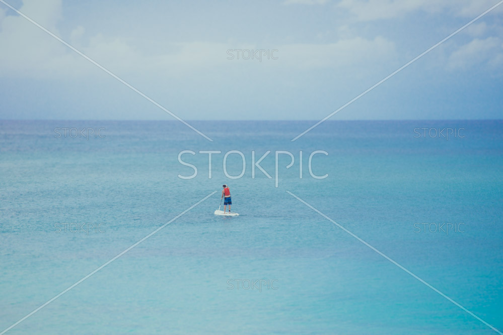 Free photos to download of Man Paddle boarding In Perfect Blue Ocean
