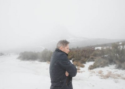 Man Standing In The Winter Snow Feeling Cold
