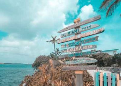 Sign Post On Tropical island Beach